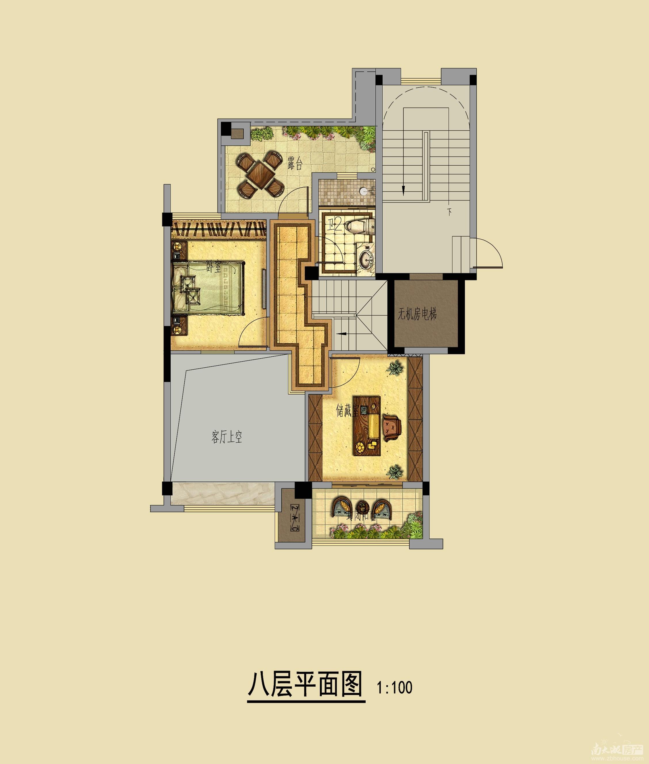 别墅八层平面图