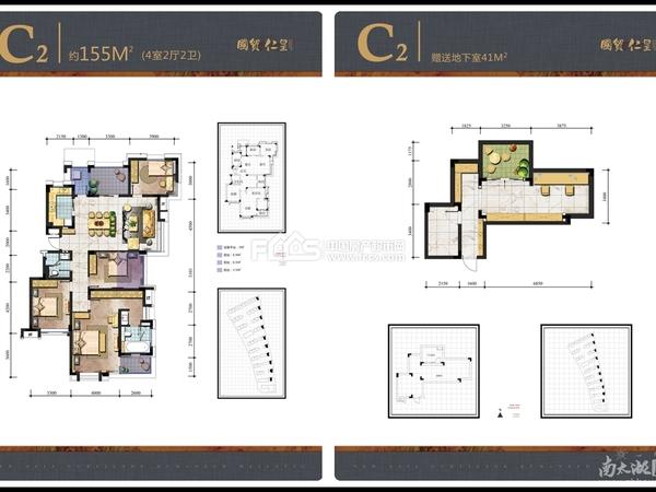 国贸仁皇洋房2楼东边套河景房,153平,四房两厅两卫,送78平地下室,232万