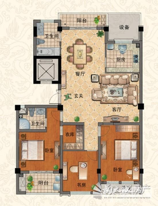 E 三室两厅两卫