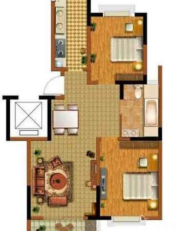 湖州东部新城,中惠.卡丽兰 2室2厅 精装